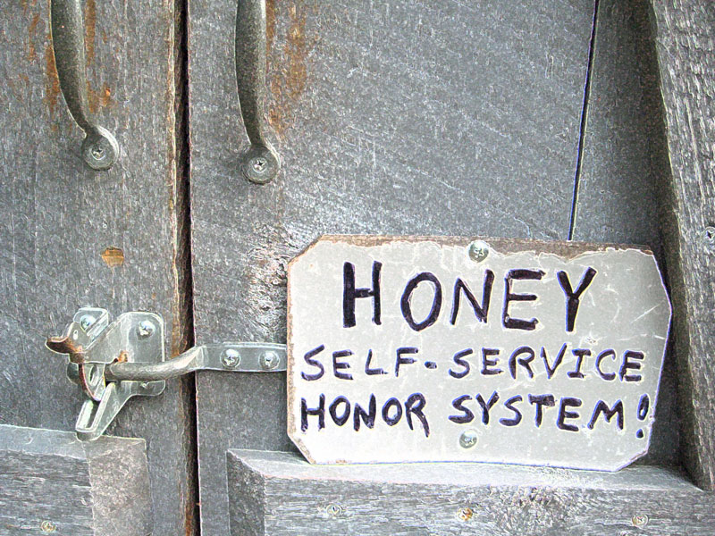 A sign seen on the pie trip: local honey